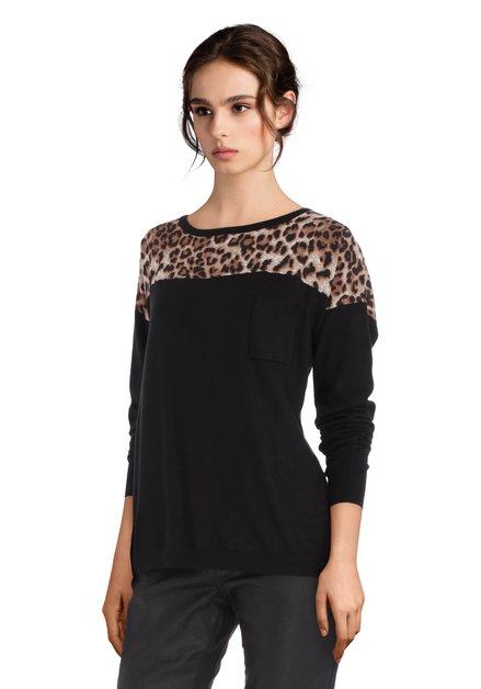 Pull noir avec imprimé léopard