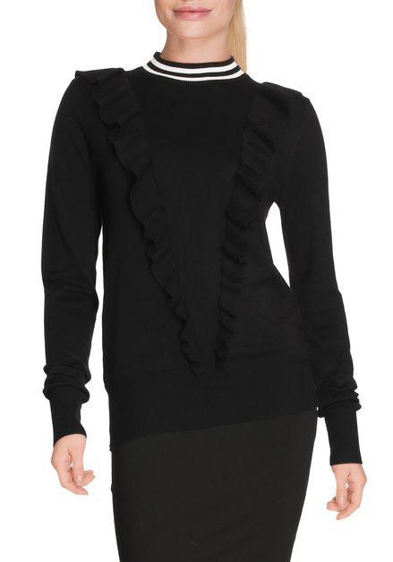 Pull noir avec rayures blanches