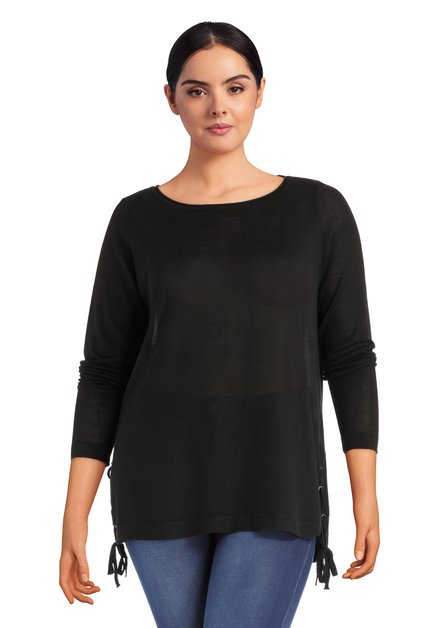 Pull noir en tricot avec noeuds
