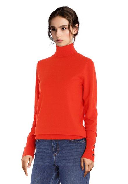 Pull orange avec col roulé en jersey doux