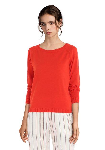 Pull orange en coton avec col rond