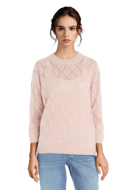 Pull rose clair en maille
