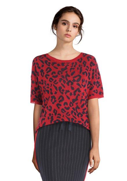 Pull rouge à imprimé léopard et lurex