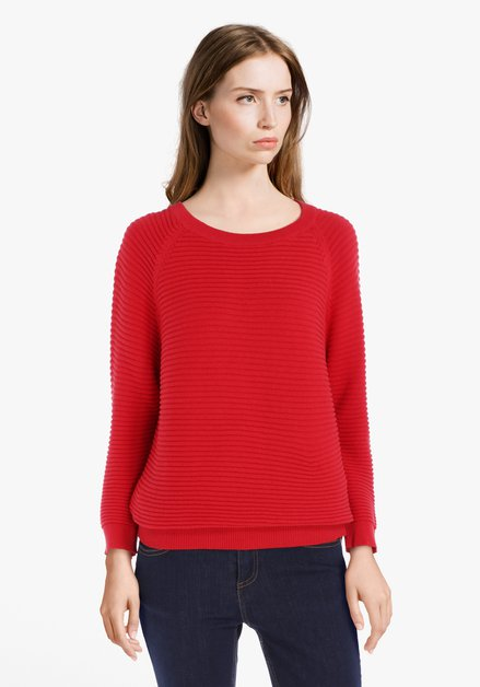 Pull rouge en coton côtelé