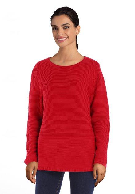Pull rouge en coton extensible côtelé