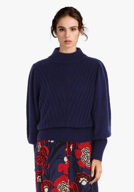 Pull tricoté bleu marine à col montant
