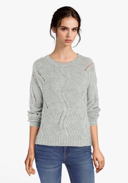 Pull tricoté gris-vert avec ajour