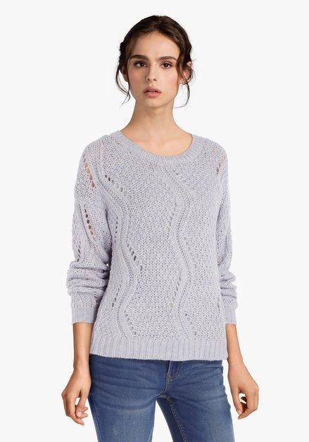 Pull tricoté mauve clair avec ajour