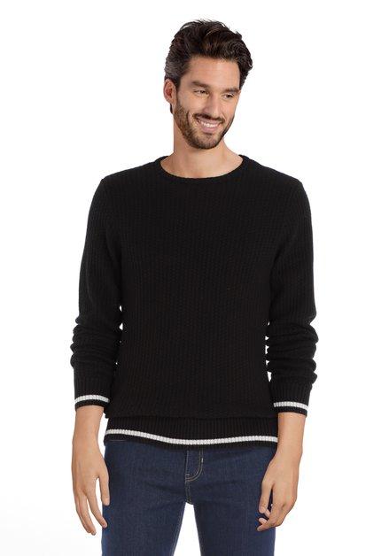 Pull tricoté noir à col rond