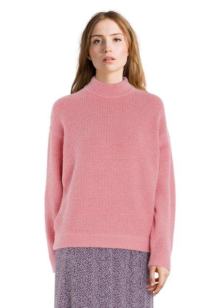 Pull tricoté rose avec laine et mohair
