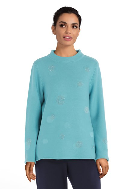 Pull turquoise avec strass