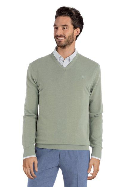 Pull vert clair en coton avec col en V