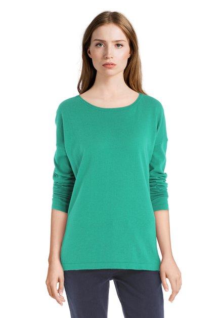 Pull vert en coton avec encolure ronde