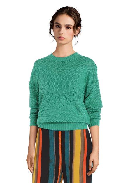 Pull vert vif avec motif tricoté et col rond