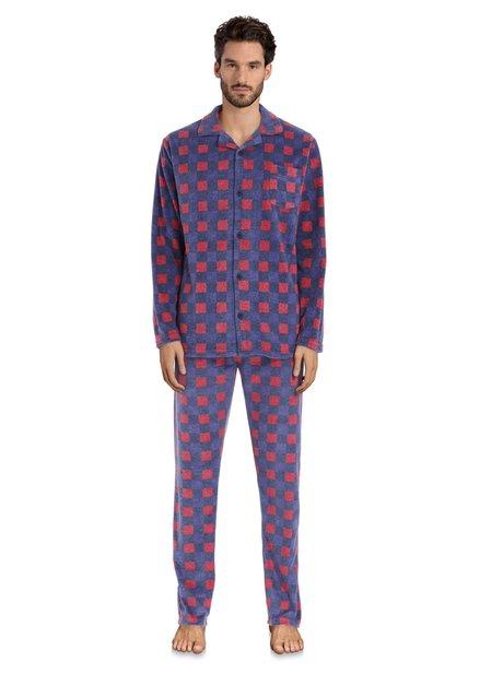Pyjama à carreaux rouge et bleu