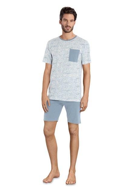 Pyjama bleu 'jungle' - manches/jambes courtes