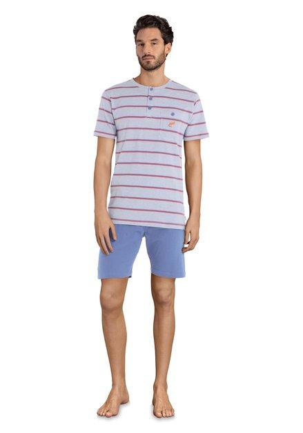Pyjama bleu à rayures - manches/jambes courtes