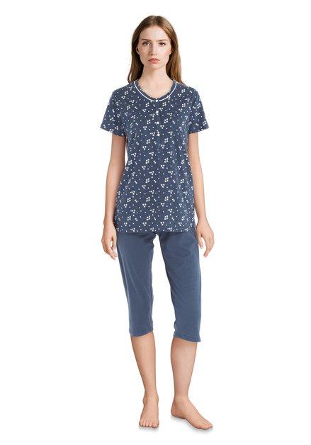 Pyjama bleu à trèfles blancs