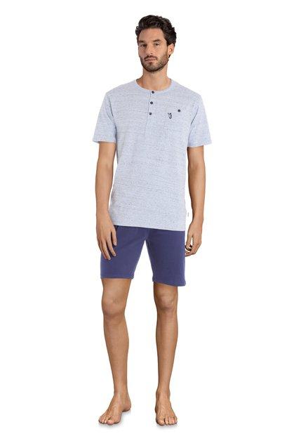 Pyjama bleu avec boutons - manches/jambes courtes