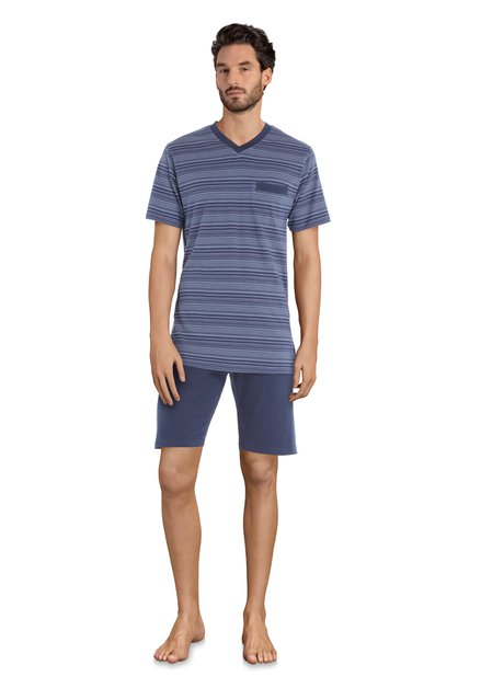 Pyjama bleu marine rayé - manches/jambes courtes