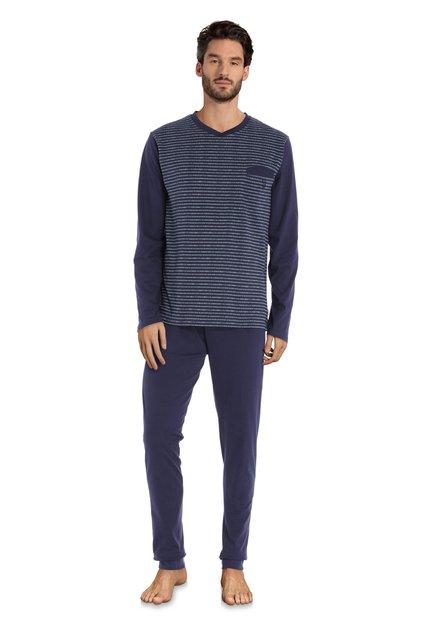 Pyjama en coton bleu à rayures