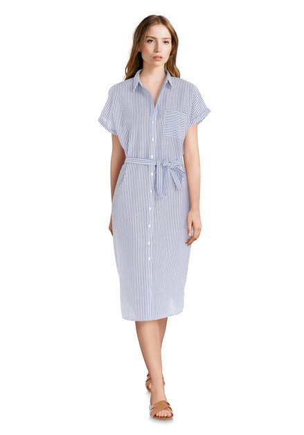 Robe à rayures blanches et bleues