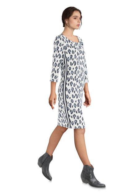 Robe blanche à imprimé léopard bleu