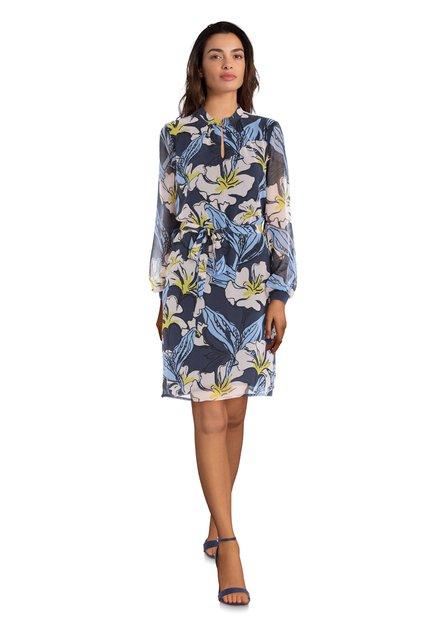 Robe bleue avec imprimé à fleurs