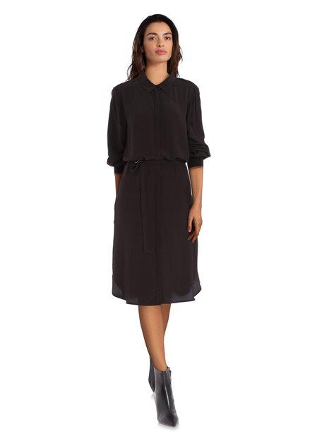 Robe chemisier noire avec ceinture