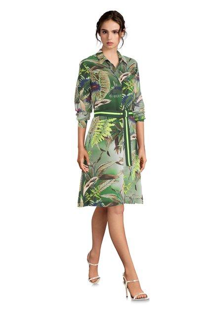 Robe chemisier verte avec imprimé à feuilles