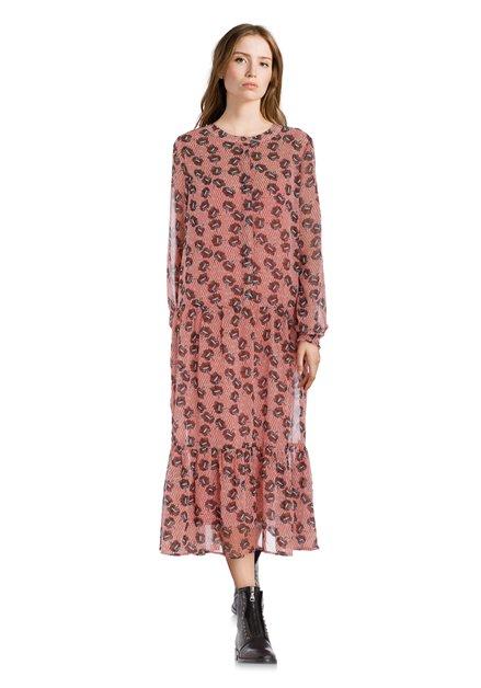 Robe de prairie rose pâle avec des fleurs brunes