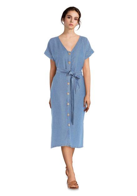 Robe denim en lyocell avec ruban