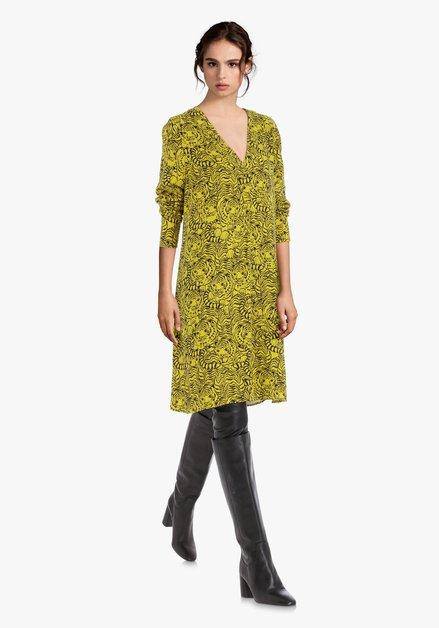 Robe jaune à imprimé panthère noire