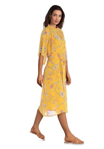 Robe jaune avec imprimé à fleurs rose