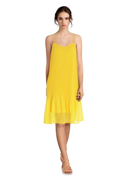 Robe jaune vif plissé