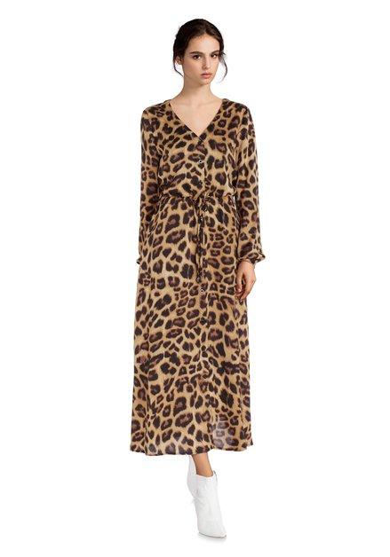 Robe longue brune avec imprimé léopard