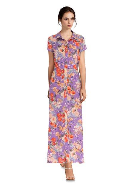 Robe longue mauve à imprimé floral coloré
