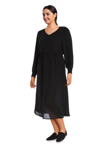 Robe longue noire avec col en V