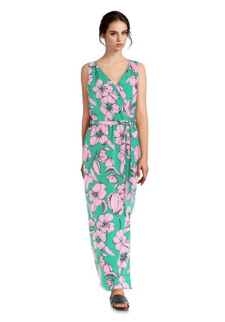 Robe longue verte à fleurs roses