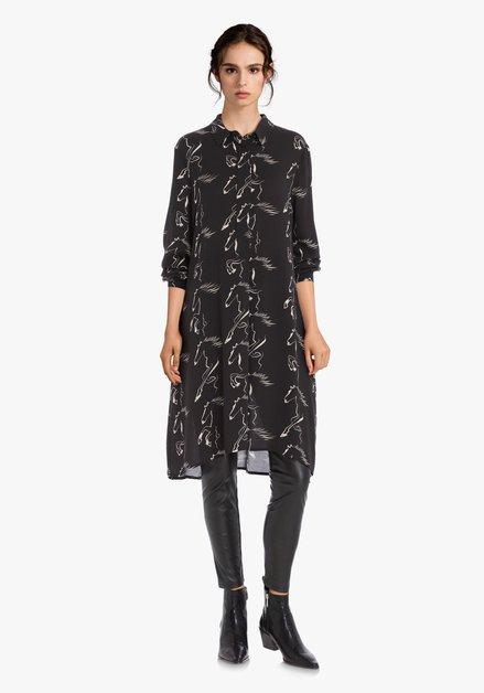 Robe noire avec imprimé cheval