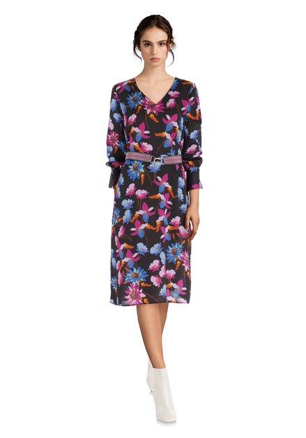 Robe noire avec imprimé floral exotique