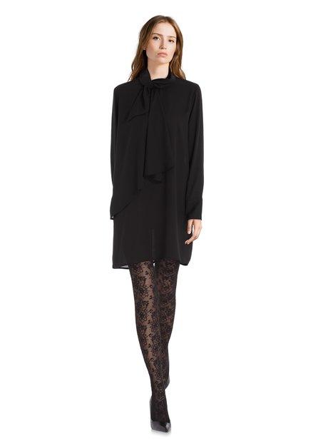 Robe noire en voile avec ruban