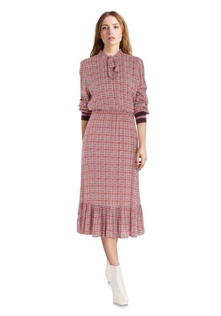 Robe rose à fins carreaux et taille élastique