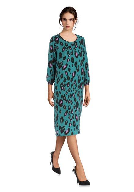 Robe verte à imprimé léopard