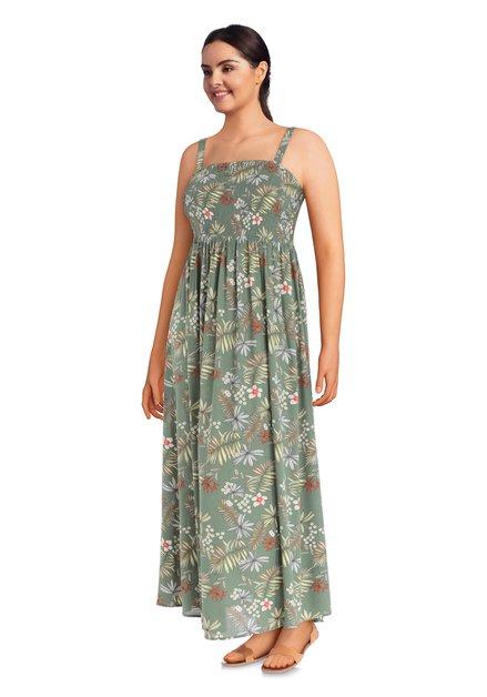 Robe verte maxi à fleurs