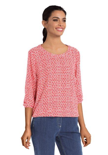 Rode blouse met abstract motief