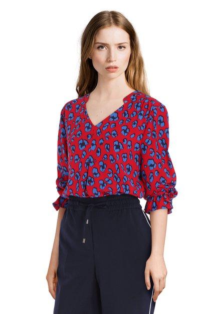 Rode blouse met blauwe print