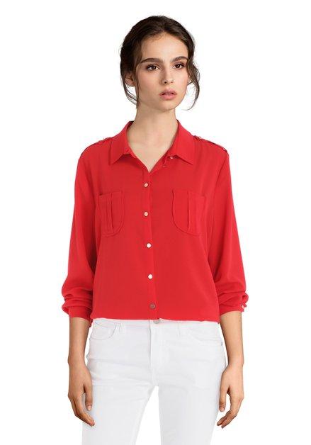 Rode blouse met knopen en lange mouwen
