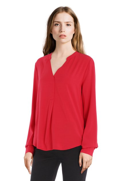 Rode blouse met V-hals in viscose en jersey