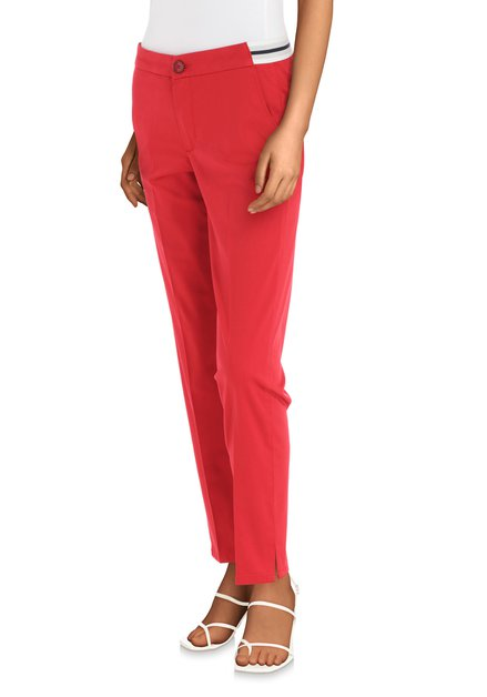 Rode enkelbroek met elastische taille